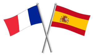 French Spanish flags